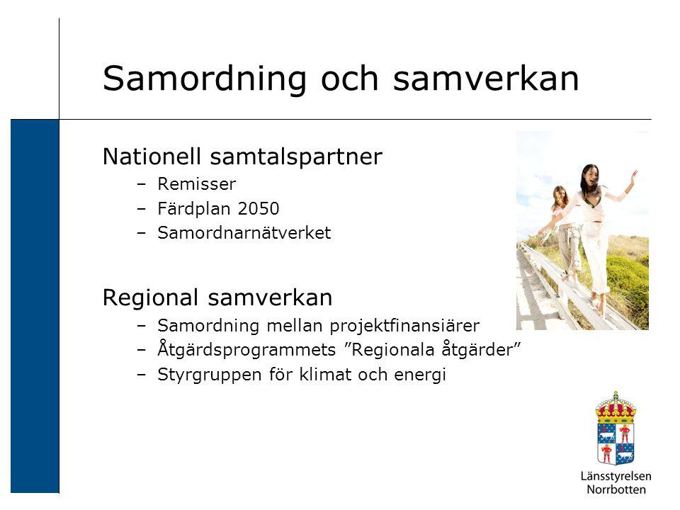 Samordning och samverkan Nationell samtalspartner –Remisser –Färdplan 2050 –Samordnarnätverket Regional samverkan –Samordning mellan projektfinansiärer –Åtgärdsprogrammets Regionala åtgärder –Styrgruppen för klimat och energi