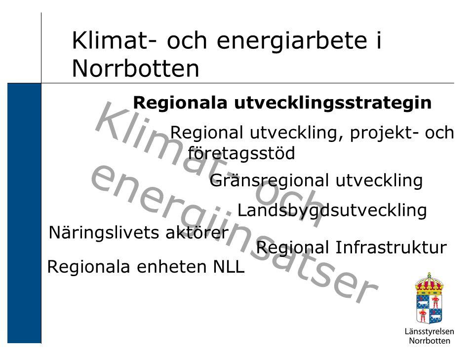 Klimat- och energiinsatser Klimat- och energiarbete i Norrbotten Näringslivets aktörer Regionala enheten NLL Gränsregional utveckling Regional Infrastruktur Regional utveckling, projekt- och företagsstöd Landsbygdsutveckling Regionala utvecklingsstrategin