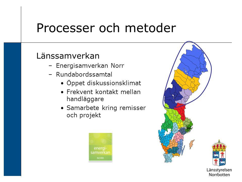Länssamverkan –Energisamverkan Norr –Rundabordssamtal Öppet diskussionsklimat Frekvent kontakt mellan handläggare Samarbete kring remisser och projekt