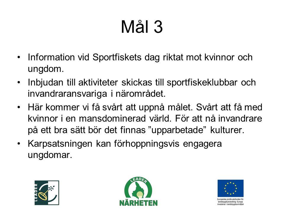 Mål 3 Information vid Sportfiskets dag riktat mot kvinnor och ungdom.
