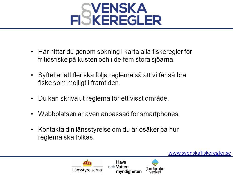 www.svenskafiskeregler.se Här hittar du genom sökning i karta alla fiskeregler för fritidsfiske på kusten och i de fem stora sjöarna. Syftet är att fl