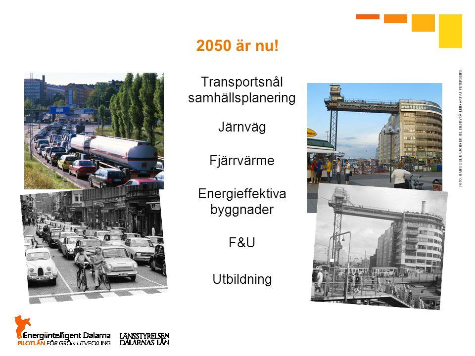2050 är nu! FOTO: HANS GEIJER/JOHNER. IBL BILDBYRÅ. LENNART AF PETERSENS Transportsnål samhällsplanering Utbildning F&U Energieffektiva byggnader Fjär
