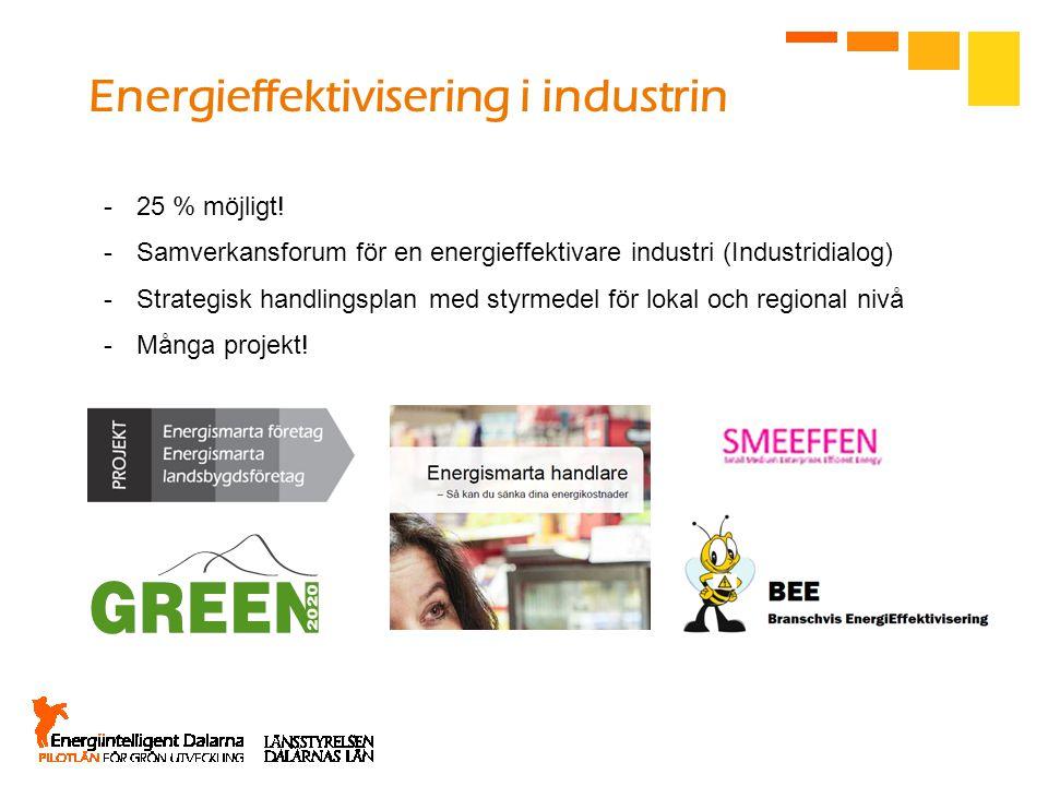 Energieffektivisering i industrin -25 % möjligt! -Samverkansforum för en energieffektivare industri (Industridialog) -Strategisk handlingsplan med sty