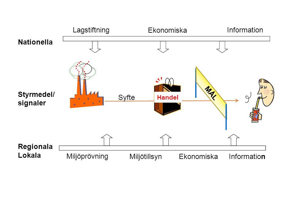 Miljötillsyn Miljöprövning Nationella Styrmedel/ signaler Regionala Lokala Ekonomiska Information Ekonomiska Information Lagstiftning Syfte Handel MÅL