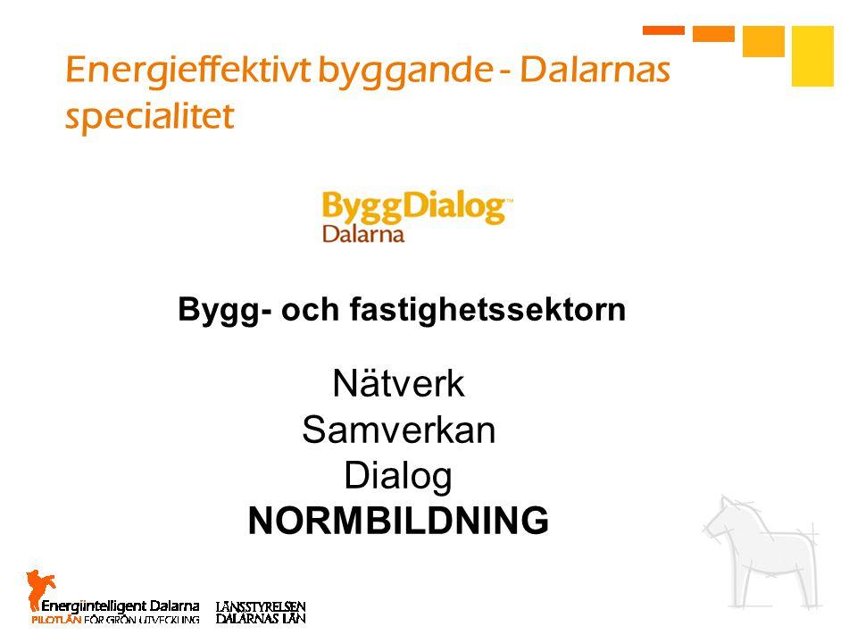 Nätverk Samverkan Dialog NORMBILDNING Bygg- och fastighetssektorn Energieffektivt byggande - Dalarnas specialitet