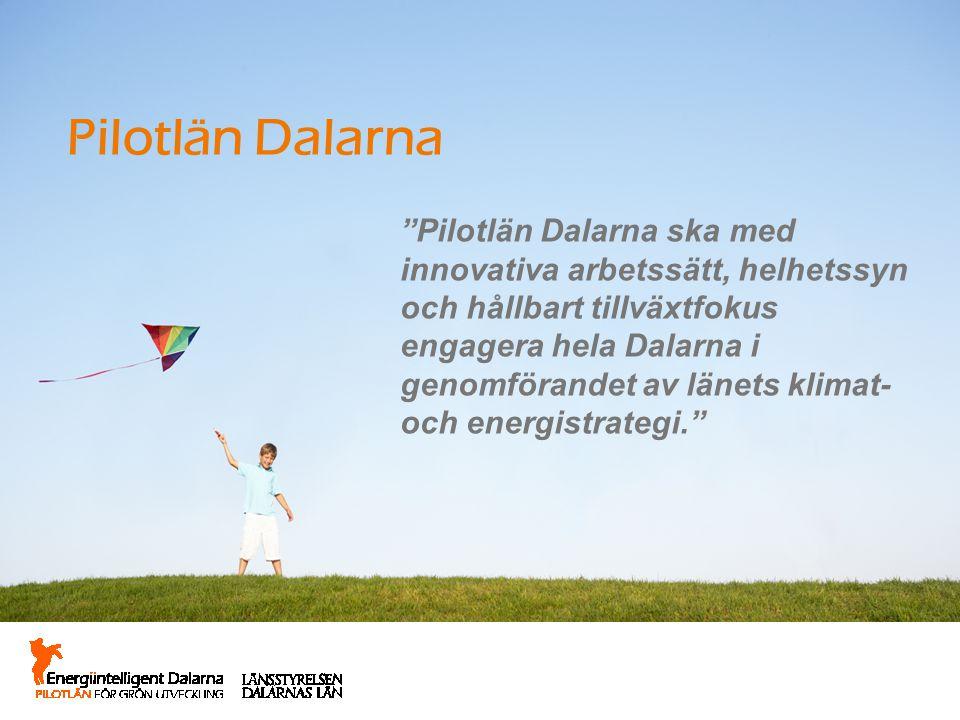 """Pilotlän Dalarna """"Pilotlän Dalarna ska med innovativa arbetssätt, helhetssyn och hållbart tillväxtfokus engagera hela Dalarna i genomförandet av länet"""