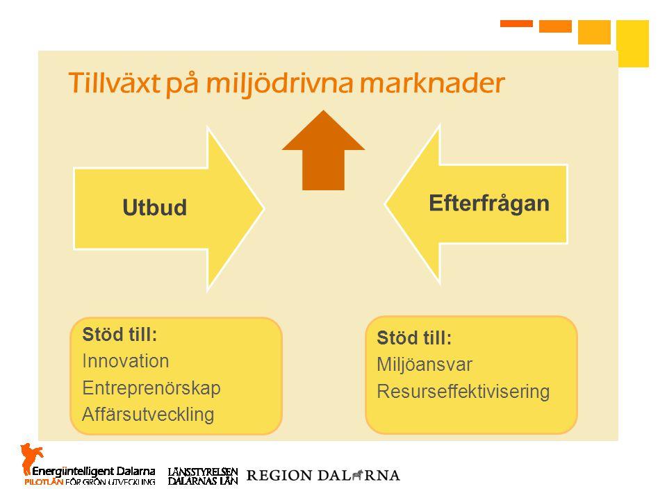 Utbud Efterfrågan Tillväxt på miljödrivna marknader Stöd till: Innovation Entreprenörskap Affärsutveckling Stöd till: Miljöansvar Resurseffektiviserin