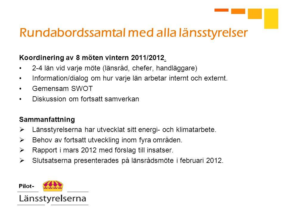 Rundabordssamtal med alla länsstyrelser Koordinering av 8 möten vintern 2011/2012. 2-4 län vid varje möte (länsråd, chefer, handläggare) Information/d