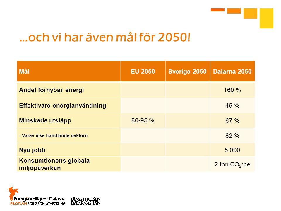 …och vi har även mål för 2050! MålEU 2050Sverige 2050Dalarna 2050 Andel förnybar energi160 % Effektivare energianvändning46 % Minskade utsläpp80-95 %6