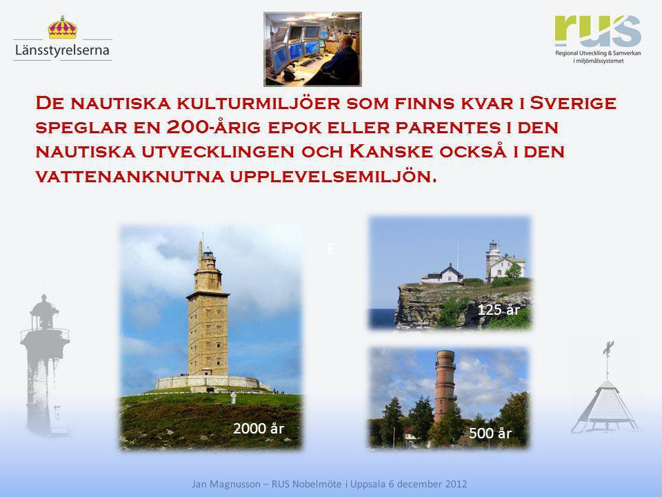E Jan Magnusson – RUS Nobelmöte i Uppsala 6 december 2012 De nautiska kulturmiljöer som finns kvar i Sverige speglar en 200-årig epok eller parentes i