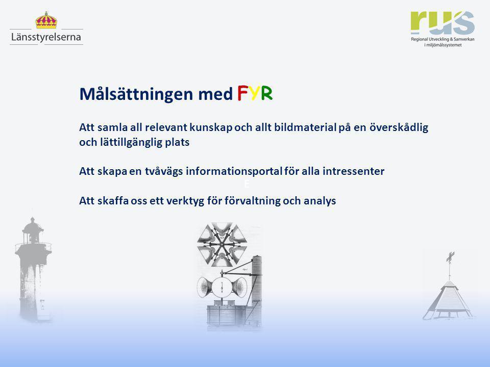 Jan Magnusson – RUS Nobelmöte i Uppsala 6 december 2012 E Målsättningen med FYR Att samla all relevant kunskap och allt bildmaterial på en överskådlig