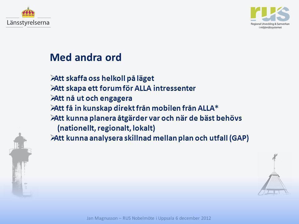 E Jan Magnusson – RUS Nobelmöte i Uppsala 6 december 2012 Med andra ord  Att skaffa oss helkoll på läget  Att skapa ett forum för ALLA intressenter