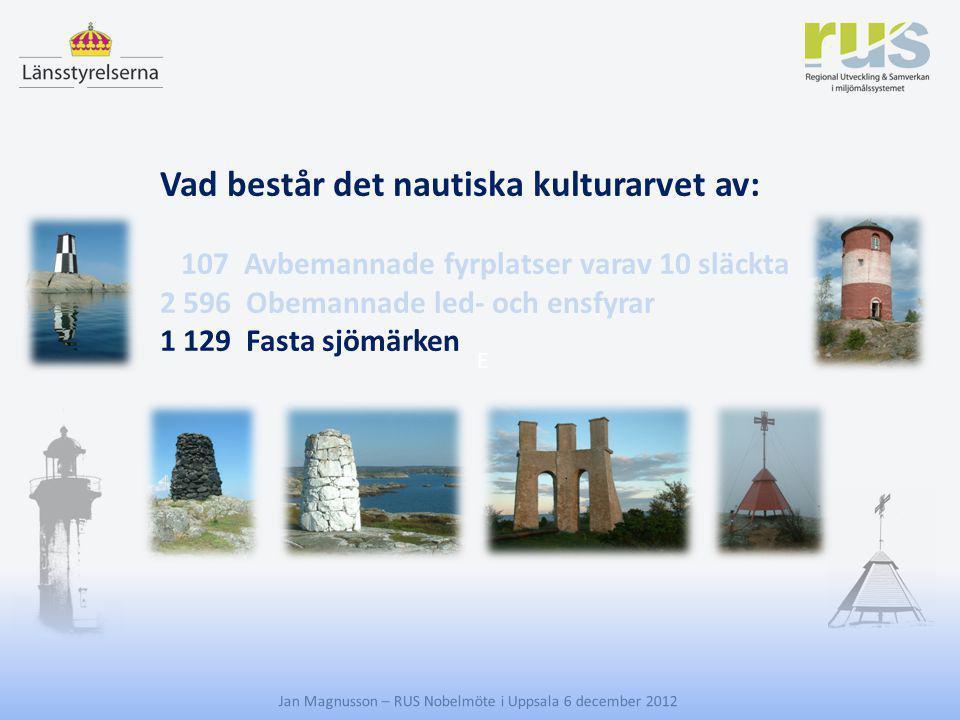 E Jan Magnusson – RUS Nobelmöte i Uppsala 6 december 2012 Vad består det nautiska kulturarvet av: 107 Avbemannade fyrplatser varav 10 släckta 2 596 Ob