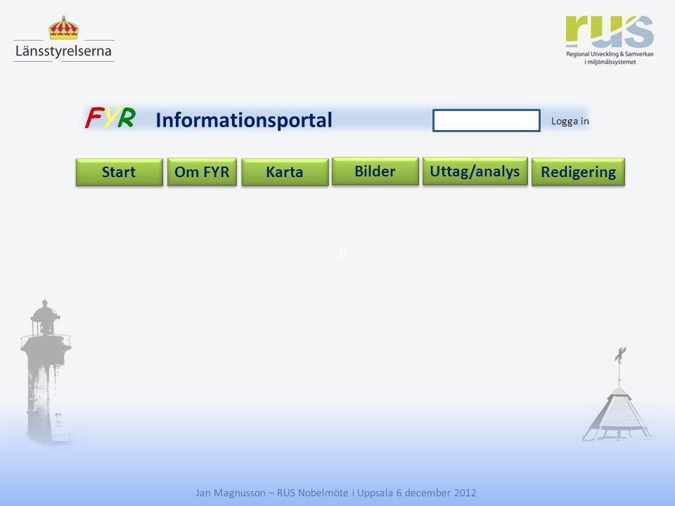 E Jan Magnusson – RUS Nobelmöte i Uppsala 6 december 2012 Uttag/analys Start Om FYR Redigering Karta Bilder FYR Informationsportal Logga in