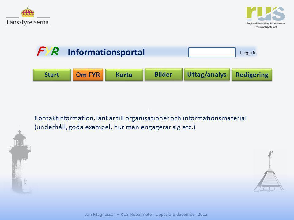 E Jan Magnusson – RUS Nobelmöte i Uppsala 6 december 2012 Uttag/analys Start Om FYR Redigering Karta Bilder FYR Informationsportal Logga in Kontaktinf