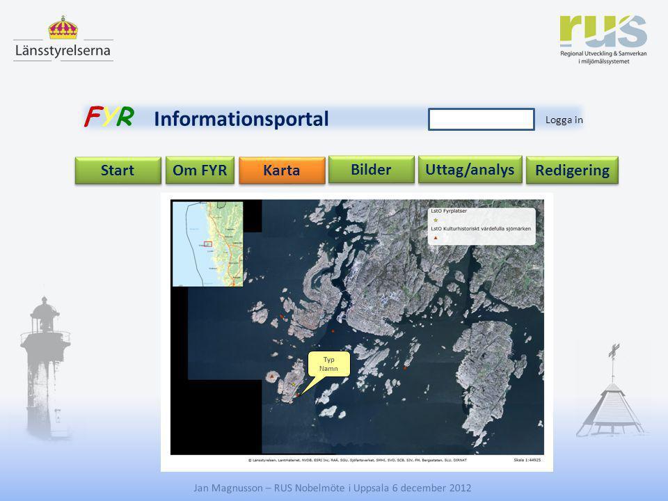 E Jan Magnusson – RUS Nobelmöte i Uppsala 6 december 2012 Uttag/analys Start Om FYR Redigering Karta Bilder FYR Informationsportal Logga in Typ Namn
