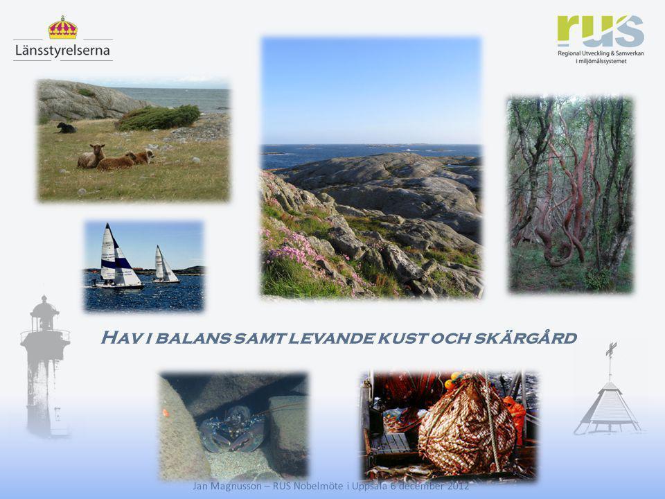E Hav i balans samt levande kust och skärgård Jan Magnusson – RUS Nobelmöte i Uppsala 6 december 2012