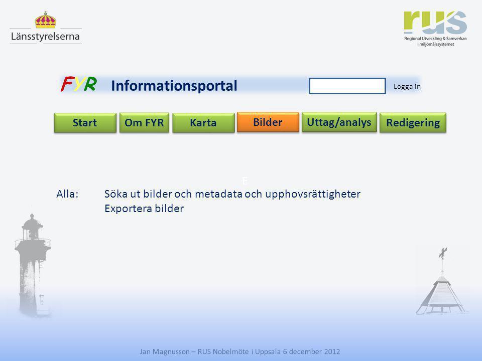 E Jan Magnusson – RUS Nobelmöte i Uppsala 6 december 2012 Uttag/analys Start Om FYR Redigering Karta Bilder FYR Informationsportal Logga in Alla:Söka