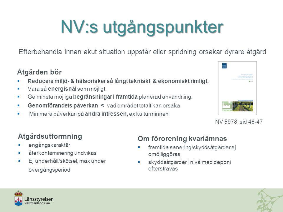 NV:s utgångspunkter Efterbehandla innan akut situation uppstår eller spridning orsakar dyrare åtgärd Åtgärden bör  Reducera miljö- & hälsorisker så l