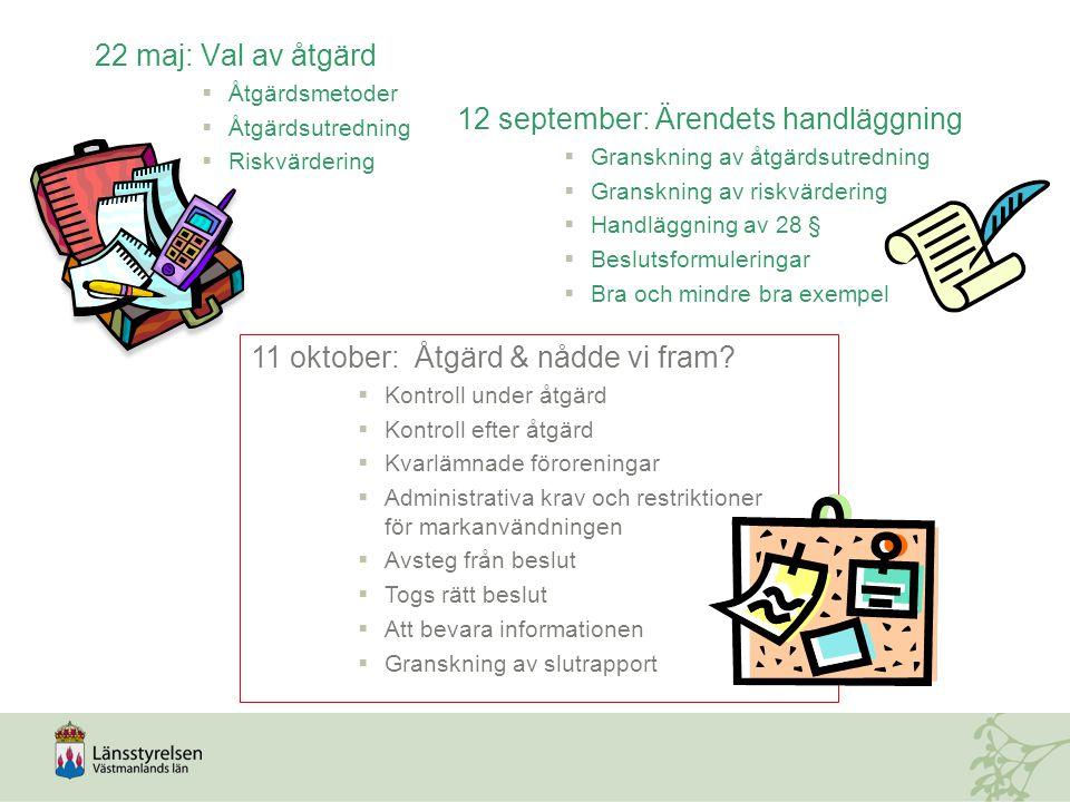 22 maj: Val av åtgärd  Åtgärdsmetoder  Åtgärdsutredning  Riskvärdering 12 september: Ärendets handläggning   Granskning av åtgärdsutredning   G