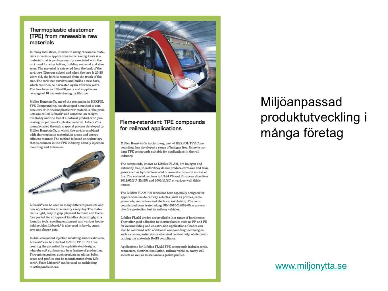 Miljöanpassad produktutveckling i många företag www.miljonytta.se