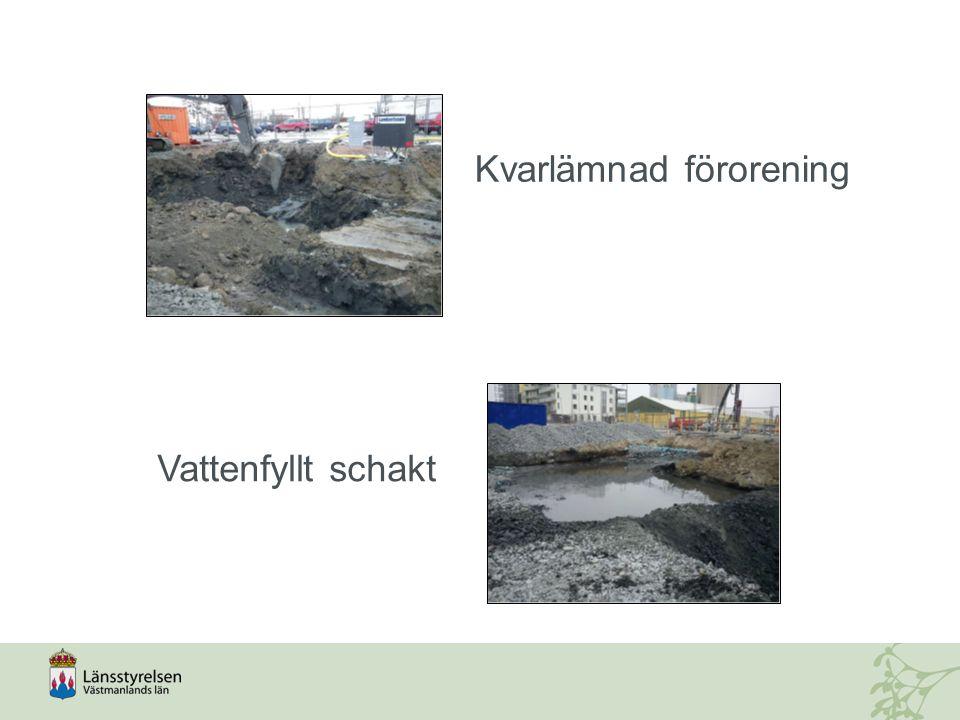 Kvarlämnad förorening Vattenfyllt schakt