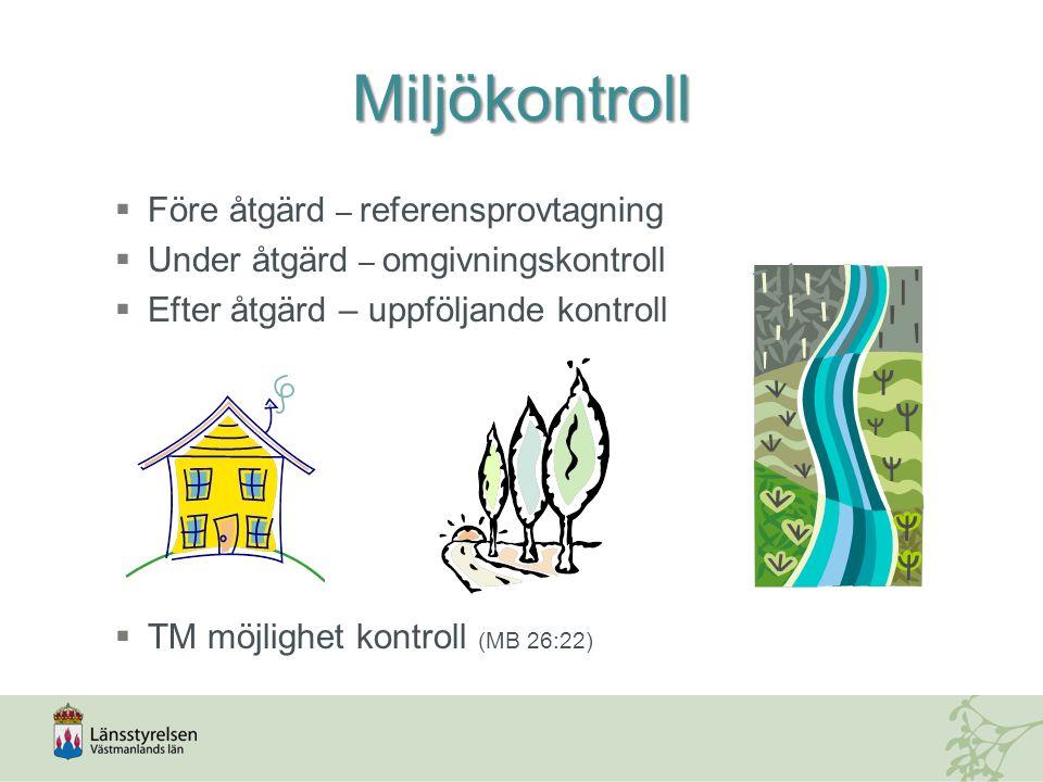 Miljökontroll  Före åtgärd – referensprovtagning  Under åtgärd – omgivningskontroll  Efter åtgärd – uppföljande kontroll  TM möjlighet kontroll (MB 26:22)