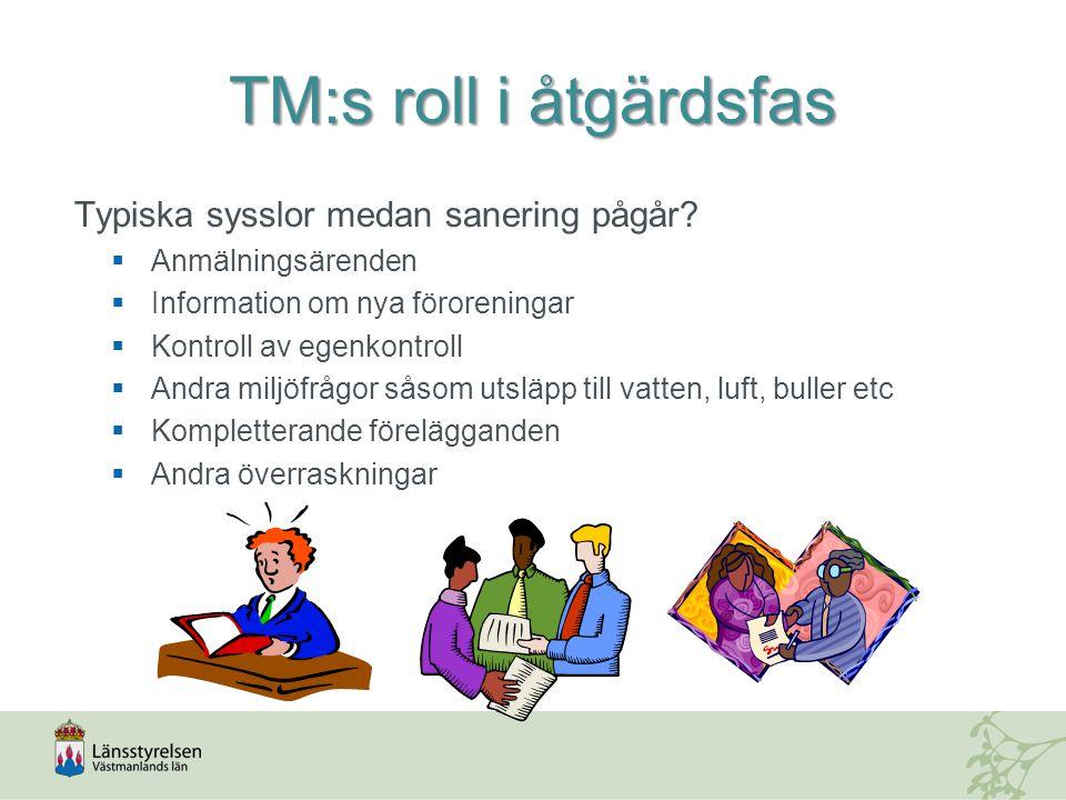 TM:s roll i åtgärdsfas Typiska sysslor medan sanering pågår.