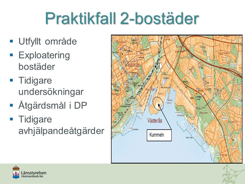 Praktikfall 2-bostäder  Utfyllt område  Exploatering bostäder  Tidigare undersökningar  Åtgärdsmål i DP  Tidigare avhjälpandeåtgärder