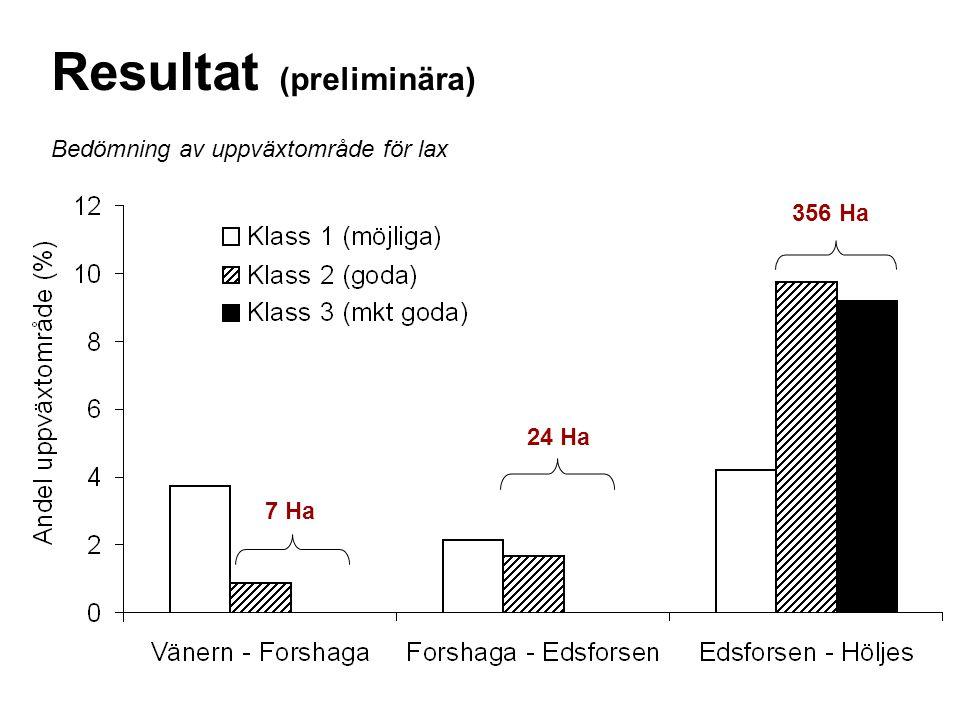 Bedömning av uppväxtområde för lax Resultat (preliminära) 7 Ha 24 Ha 356 Ha