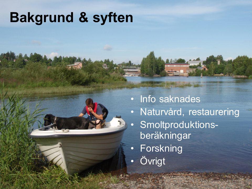 Info saknades Naturvård, restaurering Smoltproduktions- beräkningar Forskning Övrigt Bakgrund & syften