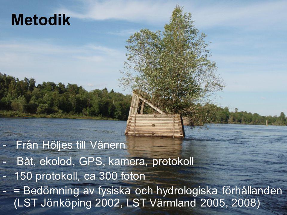 - Från Höljes till Vänern - Båt, ekolod, GPS, kamera, protokoll -150 protokoll, ca 300 foton -= Bedömning av fysiska och hydrologiska förhållanden (LST Jönköping 2002, LST Värmland 2005, 2008) Metodik