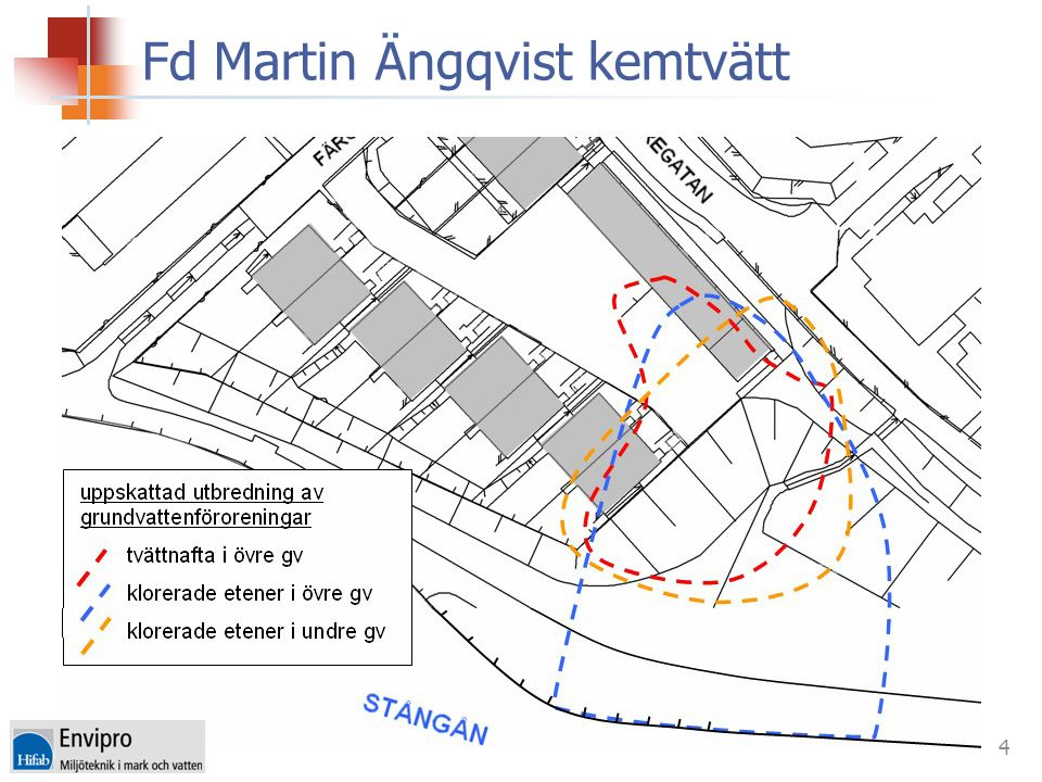 5 ÅtgärdsalternativKostnad 1Skyddsåtgärder och kontroll8 Mkr 2Källområdessanering Schakt 5 m + under hus 16 Mkr 3Totalsanering Schakt så djupt det är tekniskt möjligt + under hus + in situ gv 28 Mkr