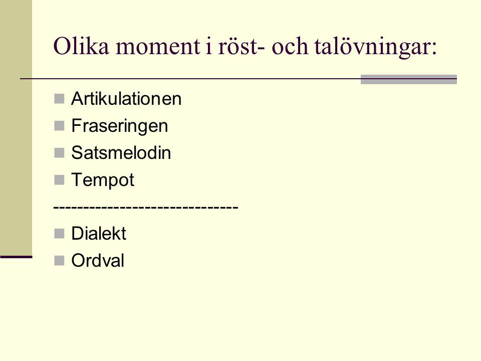 Olika moment i röst- och talövningar: Artikulationen Fraseringen Satsmelodin Tempot ------------------------------ Dialekt Ordval