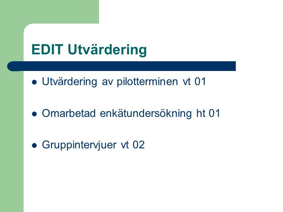 EDIT Utvärdering Utvärdering av pilotterminen vt 01 Omarbetad enkätundersökning ht 01 Gruppintervjuer vt 02