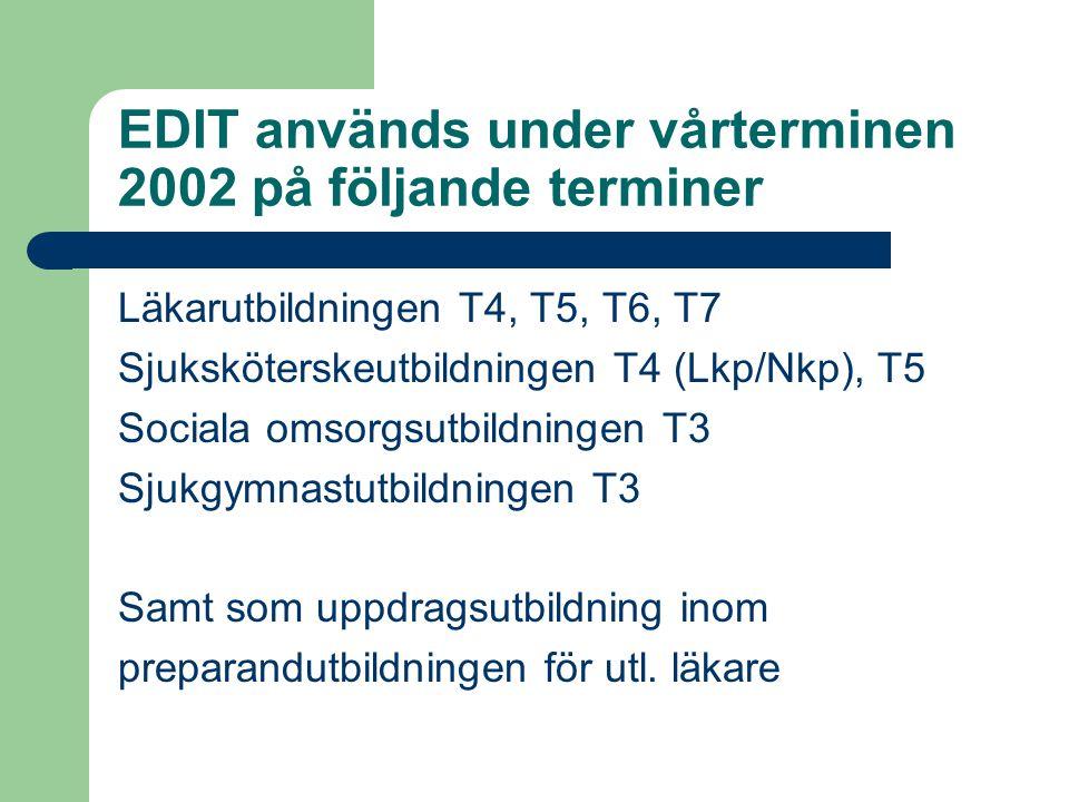 EDIT används under vårterminen 2002 på följande terminer Läkarutbildningen T4, T5, T6, T7 Sjuksköterskeutbildningen T4 (Lkp/Nkp), T5 Sociala omsorgsutbildningen T3 Sjukgymnastutbildningen T3 Samt som uppdragsutbildning inom preparandutbildningen för utl.
