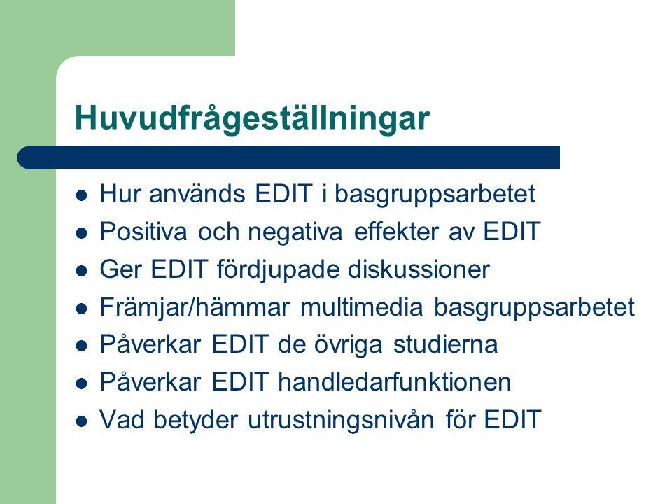 Huvudfrågeställningar Hur används EDIT i basgruppsarbetet Positiva och negativa effekter av EDIT Ger EDIT fördjupade diskussioner Främjar/hämmar multimedia basgruppsarbetet Påverkar EDIT de övriga studierna Påverkar EDIT handledarfunktionen Vad betyder utrustningsnivån för EDIT