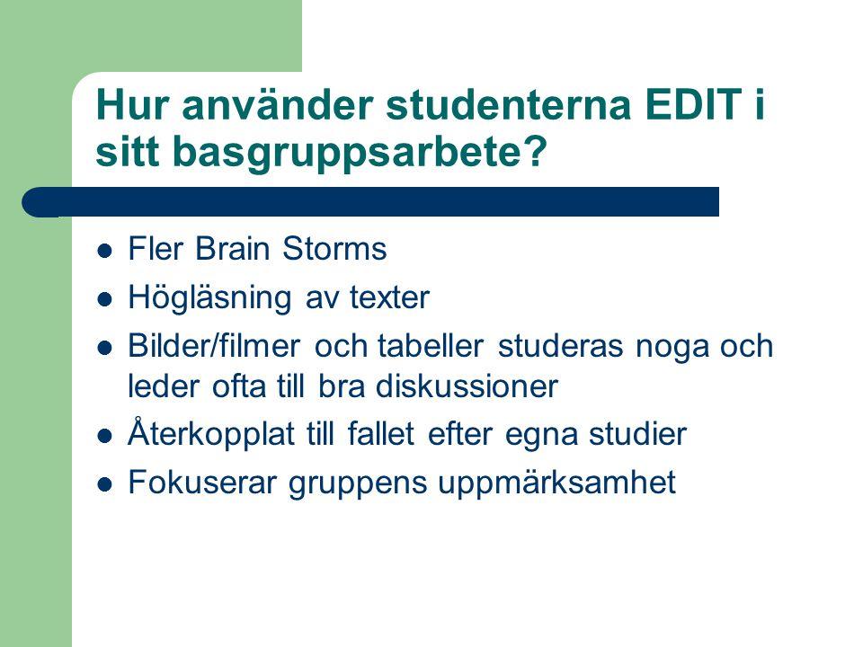 Hur använder studenterna EDIT i sitt basgruppsarbete.