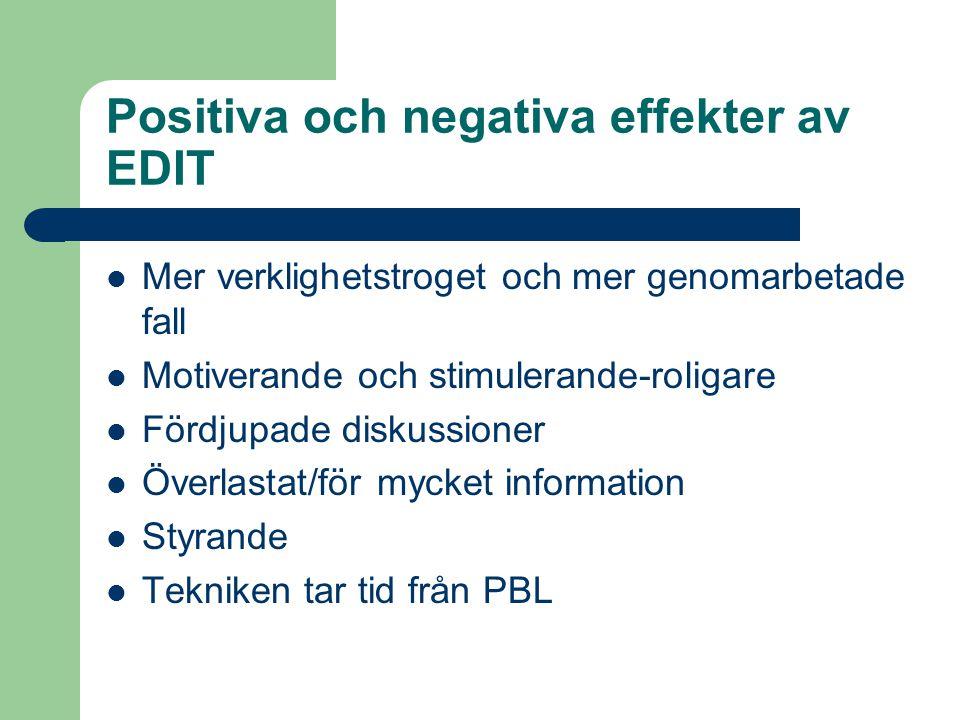 Positiva och negativa effekter av EDIT Mer verklighetstroget och mer genomarbetade fall Motiverande och stimulerande-roligare Fördjupade diskussioner Överlastat/för mycket information Styrande Tekniken tar tid från PBL