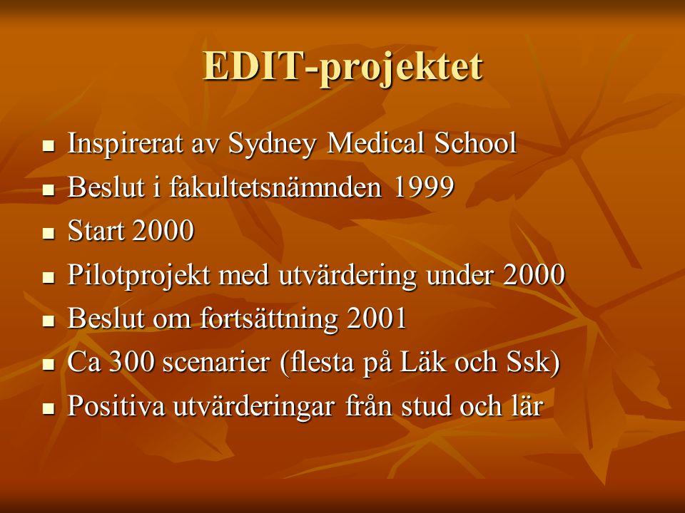 EDIT-projektet Inspirerat av Sydney Medical School Inspirerat av Sydney Medical School Beslut i fakultetsnämnden 1999 Beslut i fakultetsnämnden 1999 S