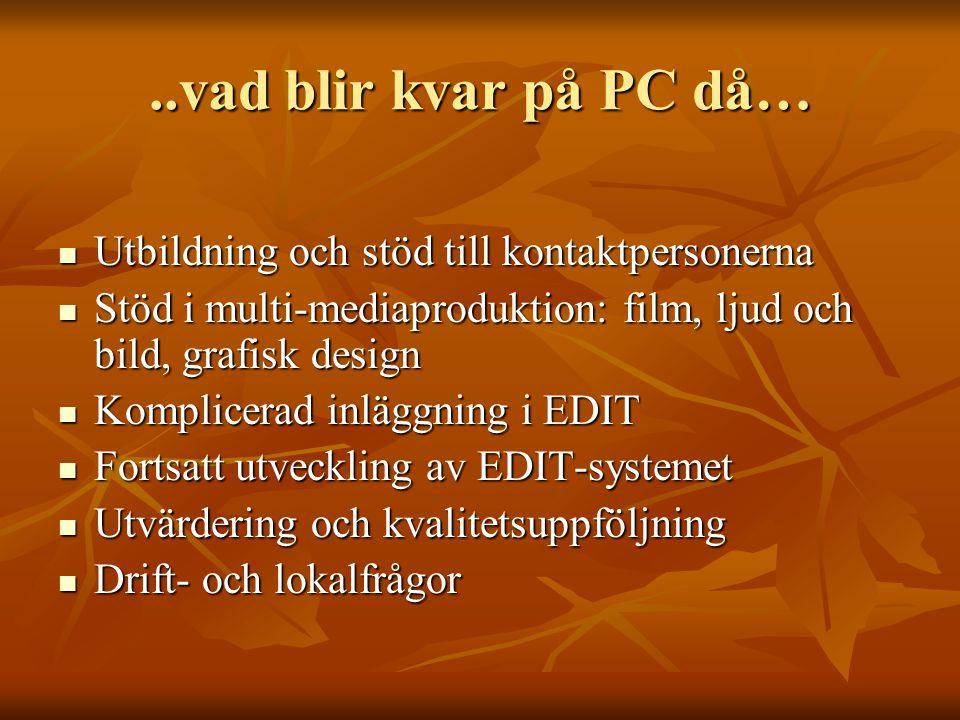 ..vad blir kvar på PC då… Utbildning och stöd till kontaktpersonerna Utbildning och stöd till kontaktpersonerna Stöd i multi-mediaproduktion: film, ljud och bild, grafisk design Stöd i multi-mediaproduktion: film, ljud och bild, grafisk design Komplicerad inläggning i EDIT Komplicerad inläggning i EDIT Fortsatt utveckling av EDIT-systemet Fortsatt utveckling av EDIT-systemet Utvärdering och kvalitetsuppföljning Utvärdering och kvalitetsuppföljning Drift- och lokalfrågor Drift- och lokalfrågor