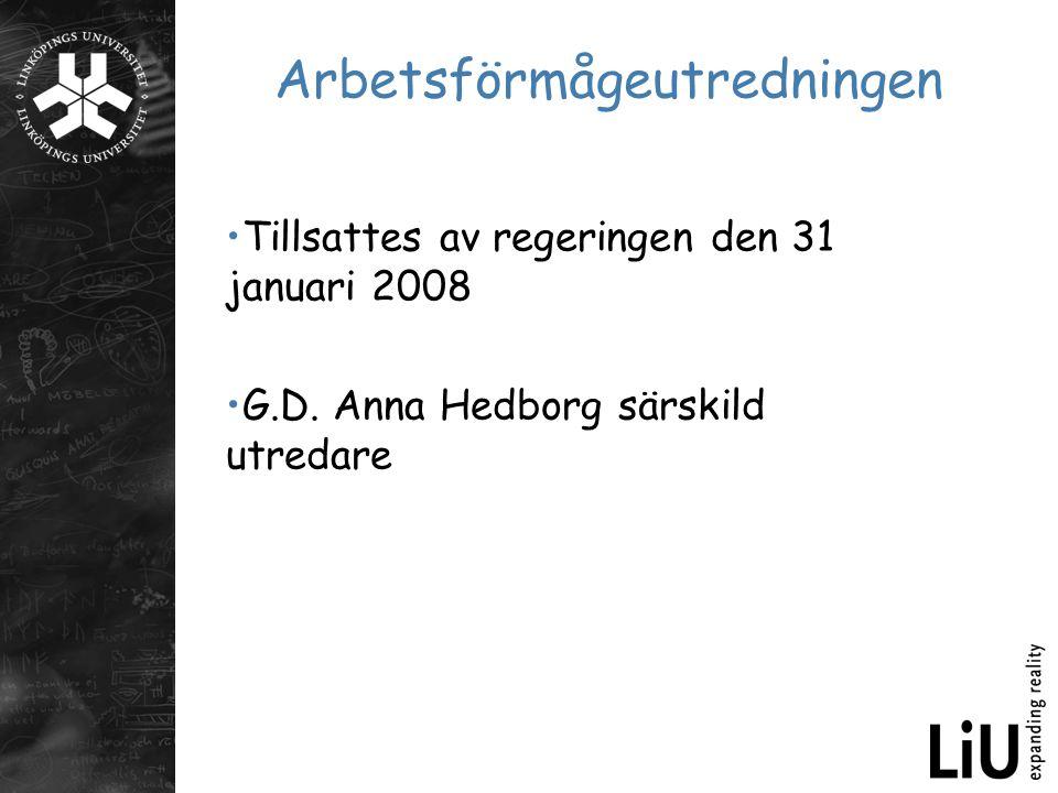 Arbetsförmågeutredningen Tillsattes av regeringen den 31 januari 2008 G.D. Anna Hedborg särskild utredare