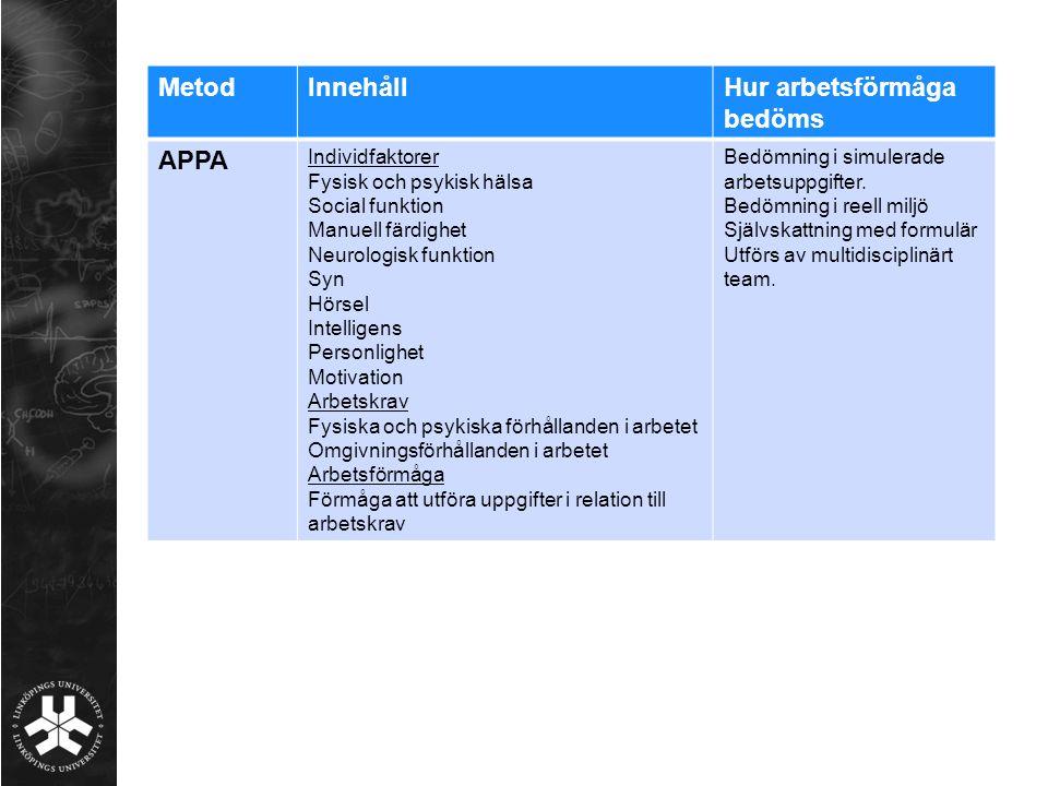 MetodInnehållHur arbetsförmåga bedöms APPA Individfaktorer Fysisk och psykisk hälsa Social funktion Manuell färdighet Neurologisk funktion Syn Hörsel