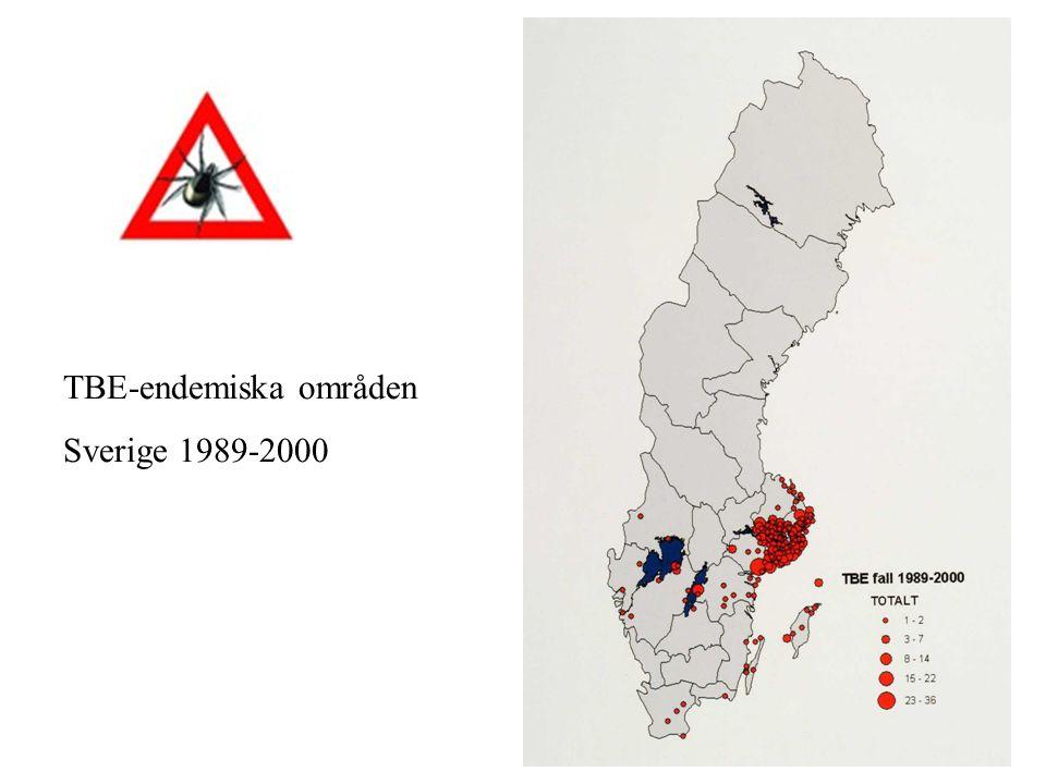 TBE-endemiska områden Sverige 1989-2000