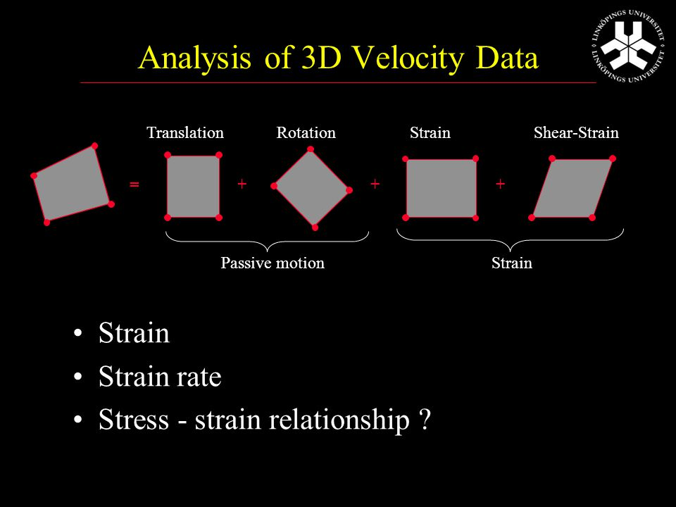 Analysis of 3D Velocity Data Strain Strain rate Stress - strain relationship .