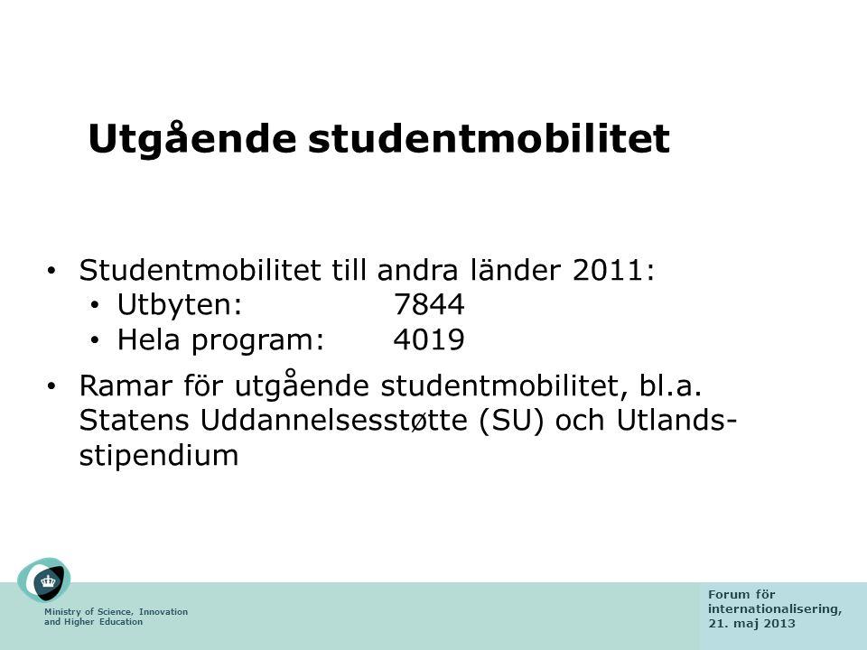 Ministry of Science, Innovation and Higher Education Fact finding mission 6 February 2013 Utgående studentmobilitet Studentmobilitet till andra länder