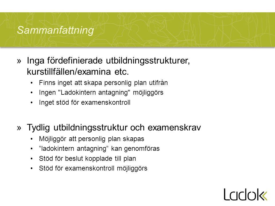 Sammanfattning »Inga fördefinierade utbildningsstrukturer, kurstillfällen/examina etc.
