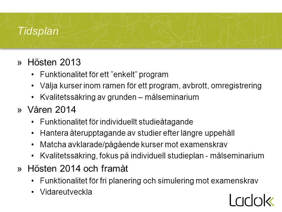 """Tidsplan »Hösten 2013 Funktionalitet för ett """"enkelt"""" program Välja kurser inom ramen för ett program, avbrott, omregistrering Kvalitetssäkring av gru"""