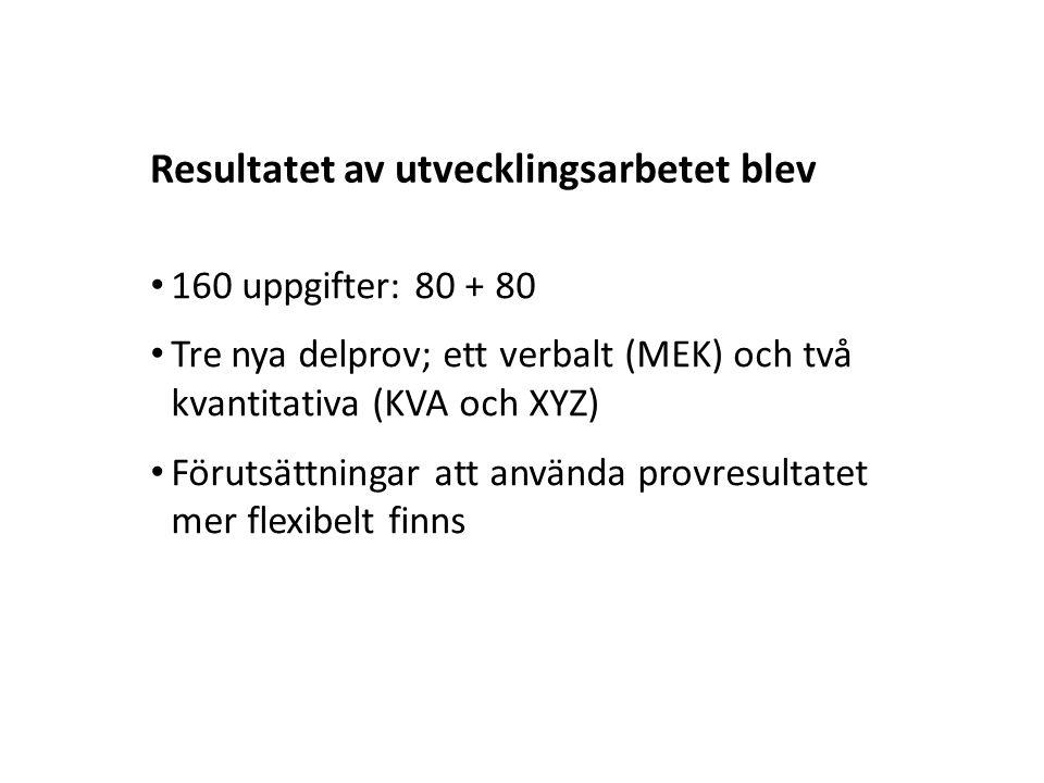 Sv Det nya provet Utvärdering nya HP 7 ORD (20 uppg.) LÄS (20 uppg.) DTK (24 uppg.) NOG (12 uppg.) ELF (20 uppg.) Verbal poäng (0.0-2.0) KVA (20 uppg.) XYZ (24 uppg.) MEK (20 uppg.) Kvant.