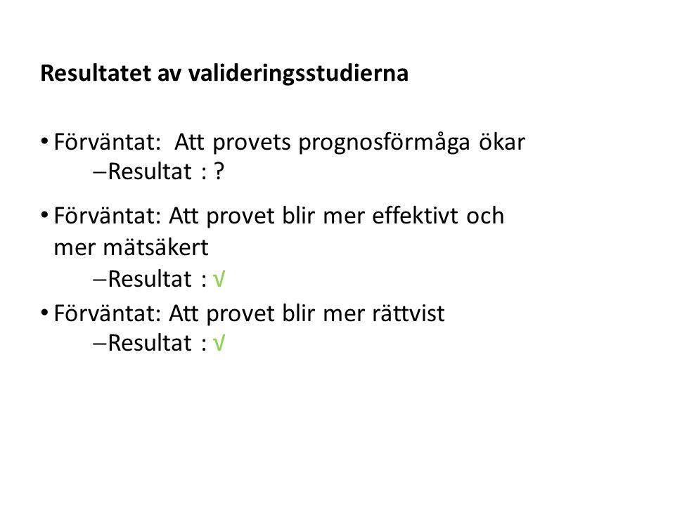 Sv Resultatet av valideringsstudierna Förväntat: Att provets prognosförmåga ökar  Resultat : ? Förväntat: Att provet blir mer effektivt och mer mätsä